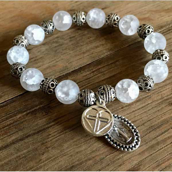 White Crackle Agate Rosary